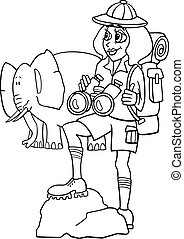woman on african safari for coloring book - Black and White...