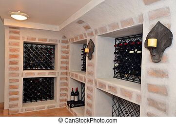 luxury home wine cellar - An underground wine cellar in a...