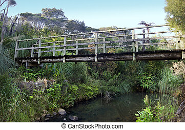 Wooden Bridge - An old wooden bridge over a stream in the...