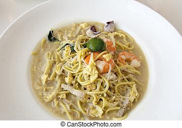 Hokkien Fry Noodles with Prawns and Squid - Hokkien Stir Fry...