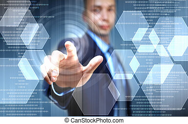 Image of finger touch - image of businessman touching screen...