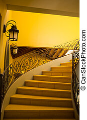 Colonial architecture - Classic bent staircase,a fine...