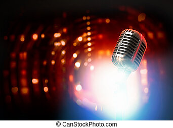 Lets sing Stylish retro microphone on a colored background