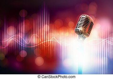 Let's sing! Stylish retro microphone on a colored background