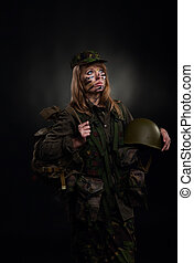 military girl - Beautiful army girl hold backpack and...