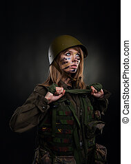 military girl - Beautiful army girl, soldier woman in a...