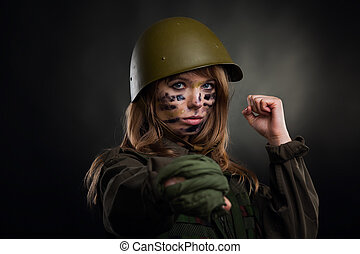 military girl - army girl, soldier woman hold fist kick,...