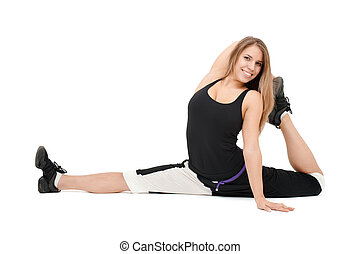 Stretchy woman dancer against white background.
