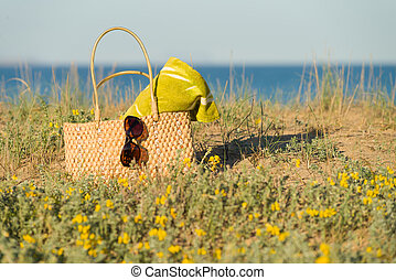 Spring scene - Accessories on blooming beach side dune, a...