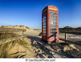 Old Red Telephone Box - Old red phone box on the beach at...
