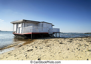 House Boat on the Beach - Old house boat on the beach at...