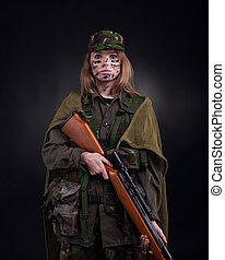 military girl - Beautiful army girl, soldier woman with...