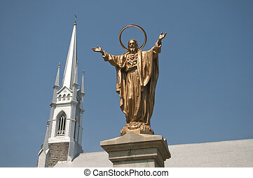 Jesus and the Church - Selective focus on the the statue of...