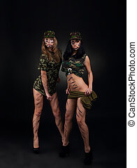 military girls - army sexy girls, two long legs soldier...