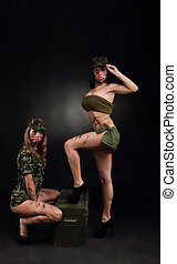 military girls - army sexy girls, two long legs woman...