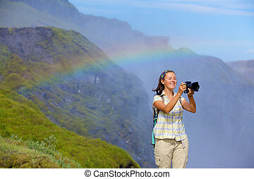 View of woman photographer Iceland - View of woman...
