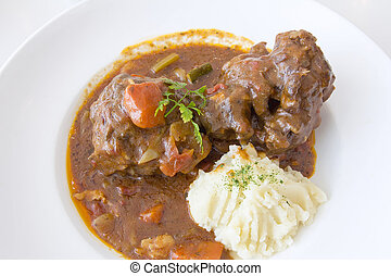 Ox Tail Stew with Mashed Potatoes Closeup - Ox Tail Beef...