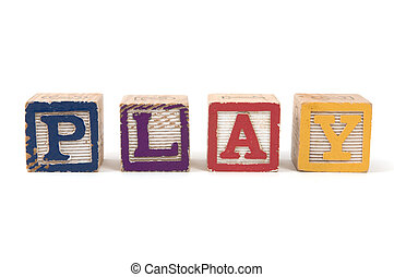 Play - Children's wooden blocks spelling the word PLAY