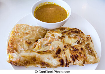 Indian Roti Prata with Curry Sauce - Indian Roti Prata with...