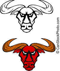 Attack bull head mascot - Attack bull head for team mascot...