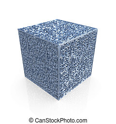 Maze Cube - Computer generated metal maze-cube with great...