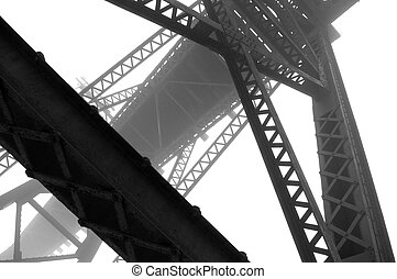 Steel and Fog Abstract - High contrast abstract image of...