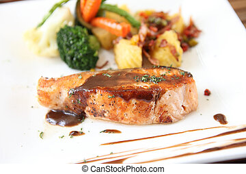 Grilled Salmon Steak with vegetables