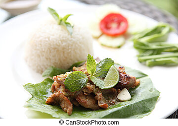 Spicy Barbecued pork with rice