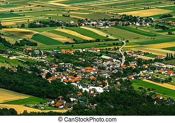 pequeno, vila, aéreo, vista