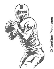 American Football Player - Vector illustration of a football...