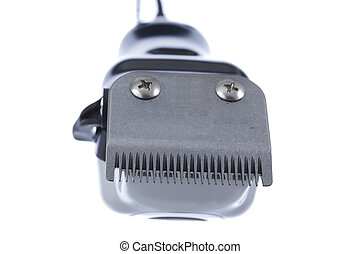Electric hair trimmer,front view isolated on white...