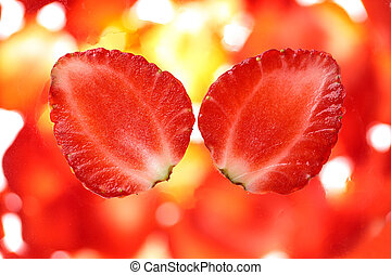 Strawberry cut. - Strawberry cut close-up.