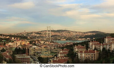 Bosporus Bridge - sunset at Bosporus Bridge istanbul Turkey