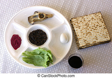 Passover Seder Plate on the table during the Jewish holiday...