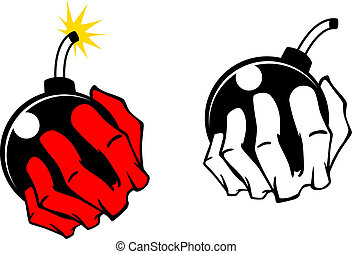 Bomb in people hand Vector cartoon image