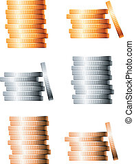 Bronze, silver and gold stacks of coins isolated on white...