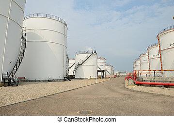 refinería, grande,  industrial, tanques, aceite