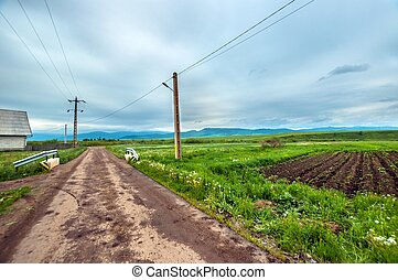 Rural road with blue sky