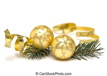 Golden Christmas decorations - Golden bulbs and spruce twigs...