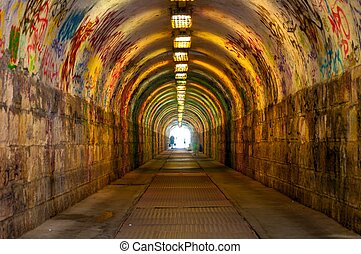 Urban underground tunnel with light