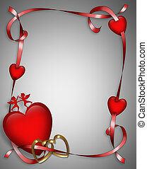 Valentine Hearts and Ribbons 3D - 3D Valentine card. border,...