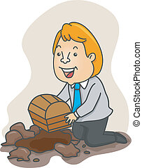 Businessman Burying a Treasure Chest - Illustration of a...