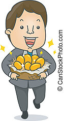 Businessman with Golden Eggs - Illustration of a Happy...