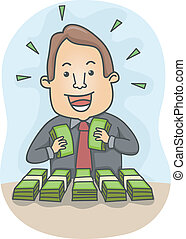 Businessman with Lots of Money - Illustration of a Happy...