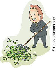Businessman Raking Money - Illustration of a Businessman...