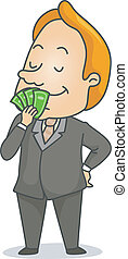 Businessman Smelling Money - Illustration of a Businessman...