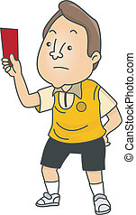 Male Football Referee - Illustration of an Upset Male...
