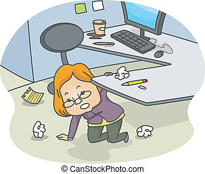 Woman in a Messy Cubicle - Illustration of a Woman Kneeling...