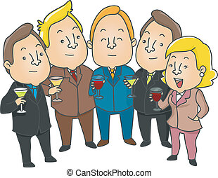 Business People having a toast - Illustration of Business...