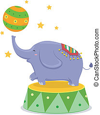 Circus Elephant Balancing a Circus Ball - Cartoon...